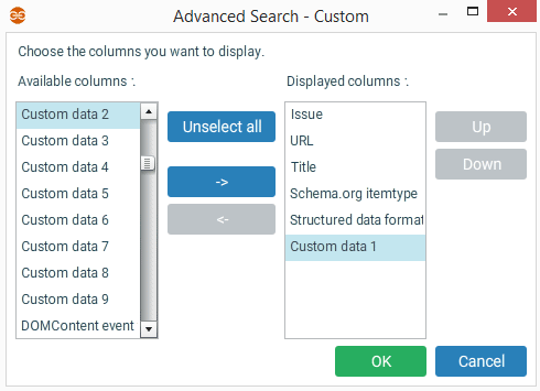Advanced search with custom data