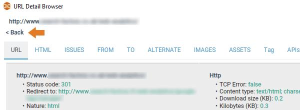 Navigation in URL detail